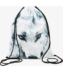 white wolf 3d printing drawstring bags animal women backpack mochilas mens trave