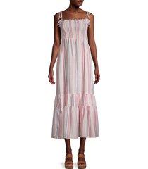 stellah women's striped shirred midi dress - size l