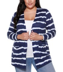 belle by belldini plus size women's printed tie-dye stripe cardigan with pockets