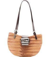 fendi pre-owned half round shoulder bag - brown