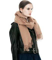 women's 100% lambswool camel canada fringed wool scarf wrap shawl with tassels