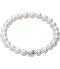 bracciale perle d'acqua dolce aa bianche 7x7,5 mm e 1 boule in oro bianco per donna