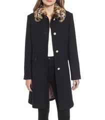 women's kate spade new york faux fur collar wool blend coat, size x-small - black