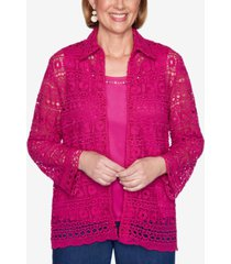 alfred dunner three quarter sleeve lace two-for-one woven shirt