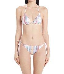 women's missoni space dye stripe two-piece swimsuit, size 12 us - purple