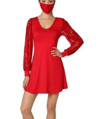ultra flirt juniors' lace-sleeve mini dress with face mask