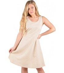 vestido lino beige alexandra cid