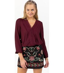 keller lace trim blouse - wine