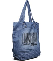 junya watanabe comme des garçons logo and bar code denim tote bag