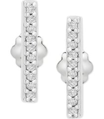 wrapped diamond bar stud earrings (1/10 ct. t.w.) in 14k white gold, created for macy's