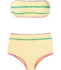 brigitte manu e fran crochet trim bikini set - yellow