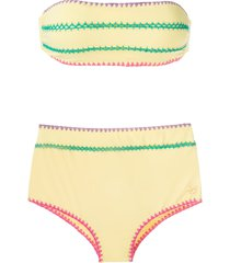 brigitte manu e fran crochet trim bikini set - yellow