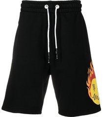 palm angels burning head track shorts - black