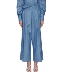 chambray side snap belted wide leg utility pants
