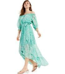 bar iii off-the-shoulder high-low maxi dress, created for macy's