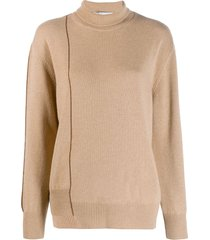 agnona roll neck sweatshirt - neutrals