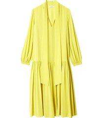 heavy silk drop waist dress in lime yellow