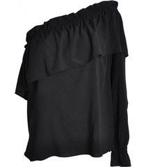 bluzka na jedno ramię czarna