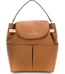 michael michael kors bedford contrast-trimmed backpack - brown