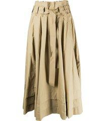 ulla johnson belted a-line cotton skirt - neutrals