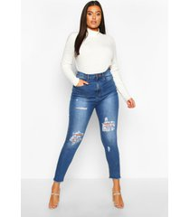 plus versleten skinny jeans met hoge taille, lichtblauw