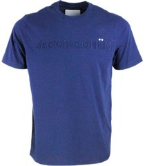 jacob cohen short-sleeved crew neck t-shirt with embossed writing