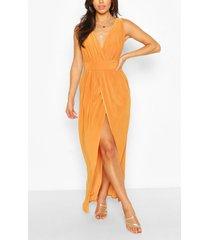 petite plunge drape maxi dress, mustard