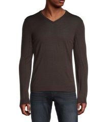 john varvatos men's v-neck wool sweater - dark brown - size s