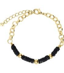 bracciale in ottone dorato con elementi conchiglia neri per donna