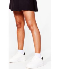 womens watch your tone faux leather chunky sneakers - white