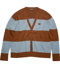 brown and blue striped cardigan
