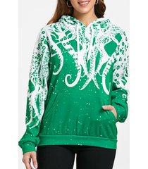 3d octopus print kangaroo pocket hoodie