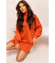 recycled sweat oversized hoodie dress, copper