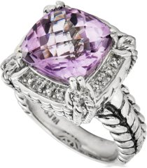 pink amethyst (6 ct. t.w.) & diamond accent statement ring in sterling silver