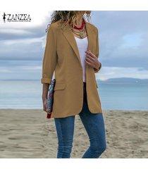 zanzea plus s-5xl blazer de solapa para mujer office ladies wear to work abrigo informal -caqui