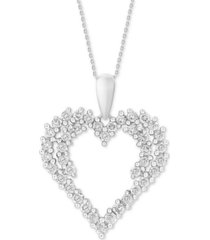 """diamond cluster 18"""" pendant necklace (3/4 ct. t.w.) in 14k white gold"""