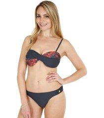 bikini bandeau estampado gris h2o wear