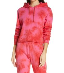 women's aviator nation tie dye crop hoodie, size medium - red
