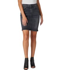 women's hudson jeans centerfold extended high waist denim skirt, size 31 - black
