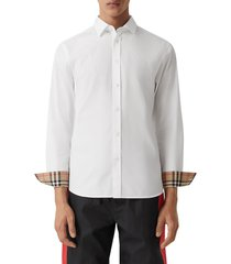 burberry sherwood monogram motif slim fit stretch poplin button-up shirt, size x-large in white at nordstrom