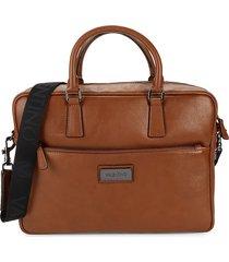 valentino by mario valentino men's adam leather briefcase - tobacco