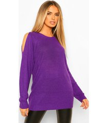 oversized trui met open schouders, purple