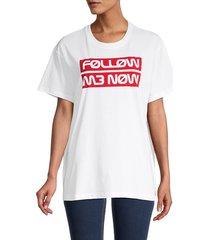 redvalentino women's drop-shoulder slogan t-shirt - white - size l