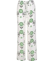 ermanno scervino white palazzo trousers with green patchwork print