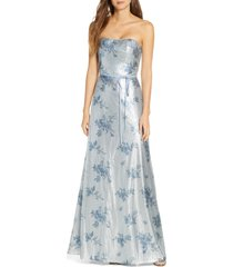 women's marchesa notte strapless print sequin a-line gown