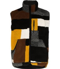 john elliott nashville reversible patchwork fleece gilet - black