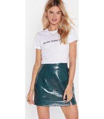 womens can't croc us vinyl mini skirt - green
