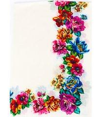 franco ferrari floral cream multicolor cashmere scarf cream/multicolor/floral print sz: