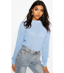 tall crew neck crop sweater, pastel blue