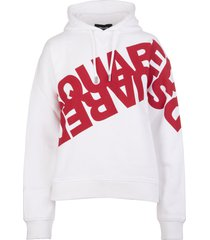 woman white and red hoodie with mirrored logo